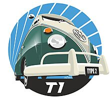 VW Type 2 Transporter T1 green Photographic Print