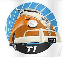 VW Type 2 Transporter T1 orange Poster