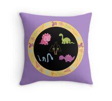 Dinamic Girls Collection - Girl Dinosaur Design Throw Pillow
