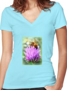 Bee on chive flower Women's Fitted V-Neck T-Shirt