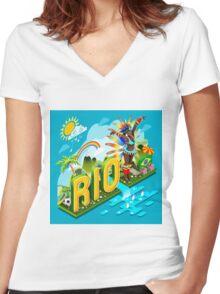 Brasil Rio Summer Infographic Isometric 3D Women's Fitted V-Neck T-Shirt
