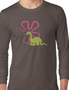 Dinamic Girls Collection - Green Dinosaur Girl with Flower Long Sleeve T-Shirt