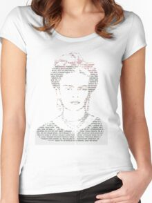 Frida Kahlo Typogrpahy Tee Women's Fitted Scoop T-Shirt