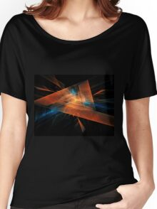 orange - blue abstract diamond spiral shape on black background Women's Relaxed Fit T-Shirt