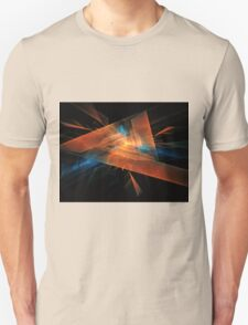 orange - blue abstract diamond spiral shape on black background Unisex T-Shirt