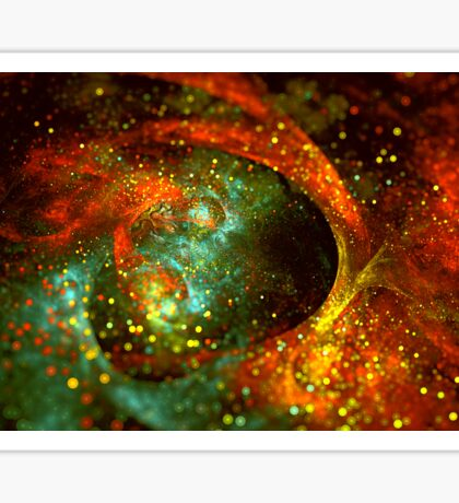 Bright abstract orange-green star background with bokeh.  Sticker