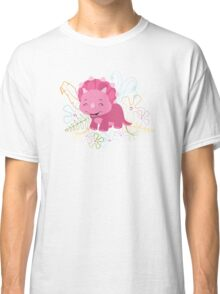 Dinamic Girls Collection - Pink Dinosaur Girl with Flowers Classic T-Shirt