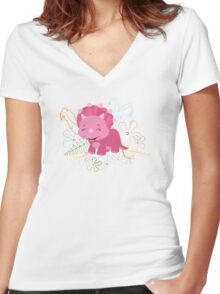 Dinamic Girls Collection - Pink Dinosaur Girl with Flowers Women's Fitted V-Neck T-Shirt