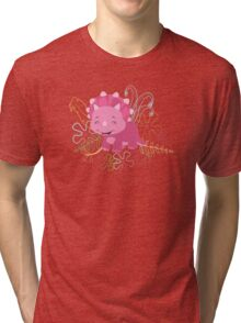 Dinamic Girls Collection - Pink Dinosaur Girl with Flowers Tri-blend T-Shirt