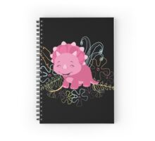 Dinamic Girls Collection - Pink Dinosaur Girl with Flowers Spiral Notebook