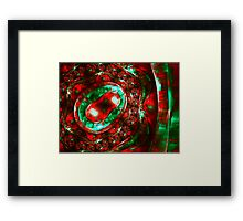 Abstract luxury ornate sparkle red and green bright pattern. Brilliant ornament background.  Framed Print