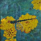 Dragonfly And Marigolds - Oil Painting by lezvee