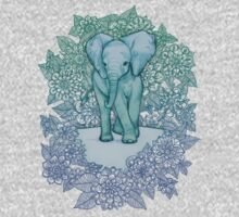 Emerald Elephant in the Lilac Evening Kids Tee