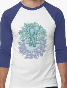 Emerald Elephant in the Lilac Evening Men's Baseball ¾ T-Shirt