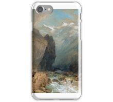 Thomas Miles Richardson the Younger () - Travellers with a horse-drawn wagon, in a ravine, with Alpine mounatins beyond iPhone Case/Skin