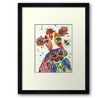 Quirky colourful cow and bumble bee Framed Print