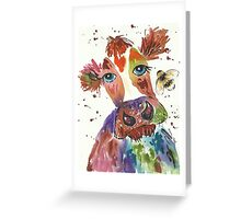 Quirky colourful cow and bumble bee Greeting Card