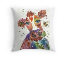 Quirky colourful cow and bumble bee Throw Pillow