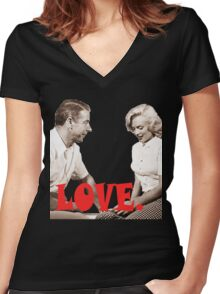Retro Love. Marilyn & Joe Women's Fitted V-Neck T-Shirt