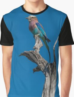 Lilac-breasted roller perched on dead tree stump Graphic T-Shirt