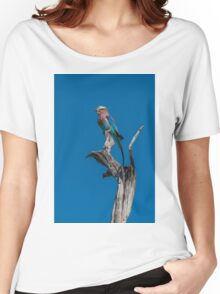 Lilac-breasted roller perched on dead tree stump Women's Relaxed Fit T-Shirt
