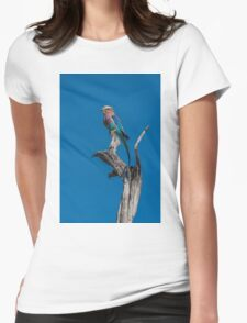 Lilac-breasted roller perched on dead tree stump Womens Fitted T-Shirt