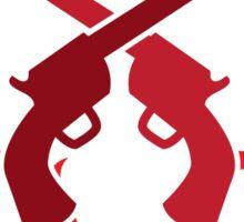 Red pistol guns with thorns Sticker