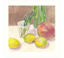 Still life - lemons and pomegranate Art Print