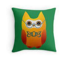 An owlet with spectacles Throw Pillow