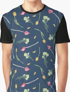 Tulip pattern - french navy background Graphic T-Shirt