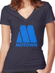 MOTOWN DISCO RECORDS (BLUE) Women's Fitted V-Neck T-Shirt