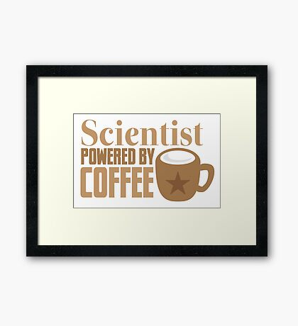 Scientist powered by coffee Framed Print