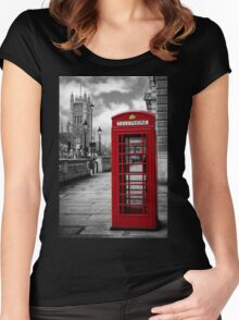 London: Red Phone Booth Women's Fitted Scoop T-Shirt