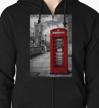 London: Red Phone Booth Zipped Hoodie