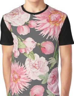 Pink Floral on Grey Graphic T-Shirt