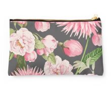 Pink Floral on Grey Studio Pouch