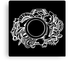 White Camera Doodle Graphic on Black Canvas Print