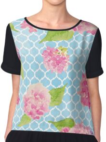 Blue and Pink Trellis Floral Chiffon Top