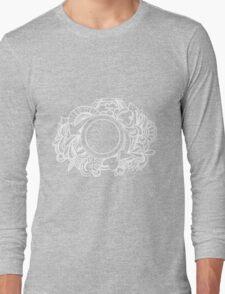 White Camera Doodle Graphic on Black Long Sleeve T-Shirt