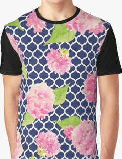 Navy and Pink Trellis Floral Graphic T-Shirt