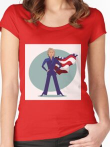 cartoon of Hillary Clinton as a super hero. Women's Fitted Scoop T-Shirt