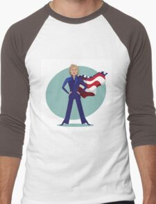 cartoon of Hillary Clinton as a super hero. Men's Baseball ¾ T-Shirt