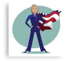 cartoon of Hillary Clinton as a super hero. Canvas Print