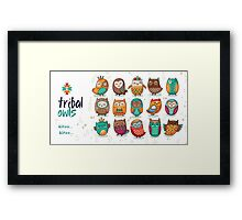 Tribal owls Framed Print