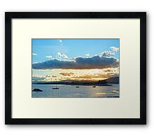 quiet bay with island near kenmare at sunset Framed Print