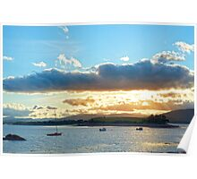quiet bay with island near kenmare at sunset Poster