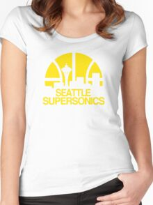 SEATTLE SUPERSONICS BASKETBALL RETRO Women's Fitted Scoop T-Shirt