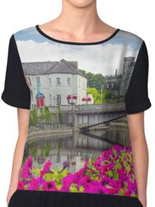 riverside view of kilkenny castle town and bridge Chiffon Top