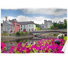 riverside view of kilkenny castle town and bridge Poster