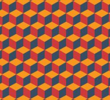 geometric red cube pattern Sticker